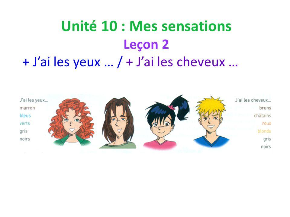 Unité 10 : Mes sensations Leçon 2 + Jai les yeux … / + Jai les cheveux …