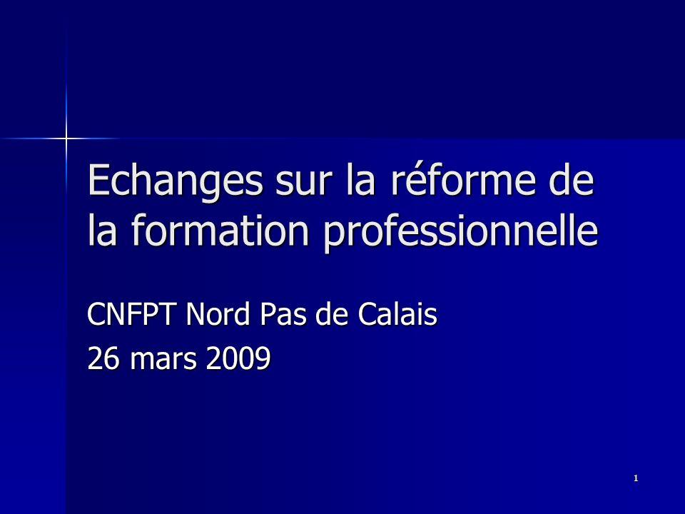 1 Echanges sur la réforme de la formation professionnelle CNFPT Nord Pas de Calais 26 mars 2009