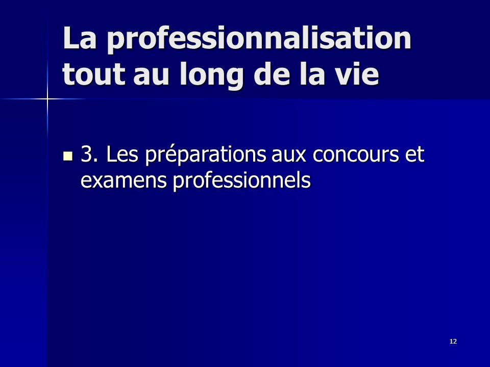 12 La professionnalisation tout au long de la vie 3.