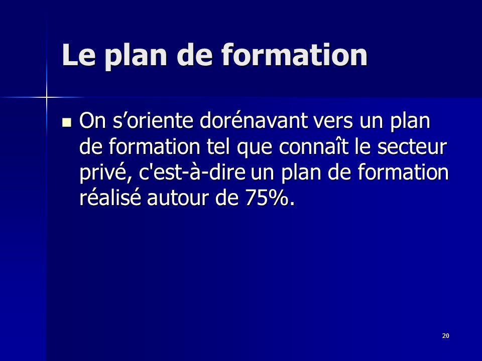 20 Le plan de formation On soriente dorénavant vers un plan de formation tel que connaît le secteur privé, c est-à-dire un plan de formation réalisé autour de 75%.