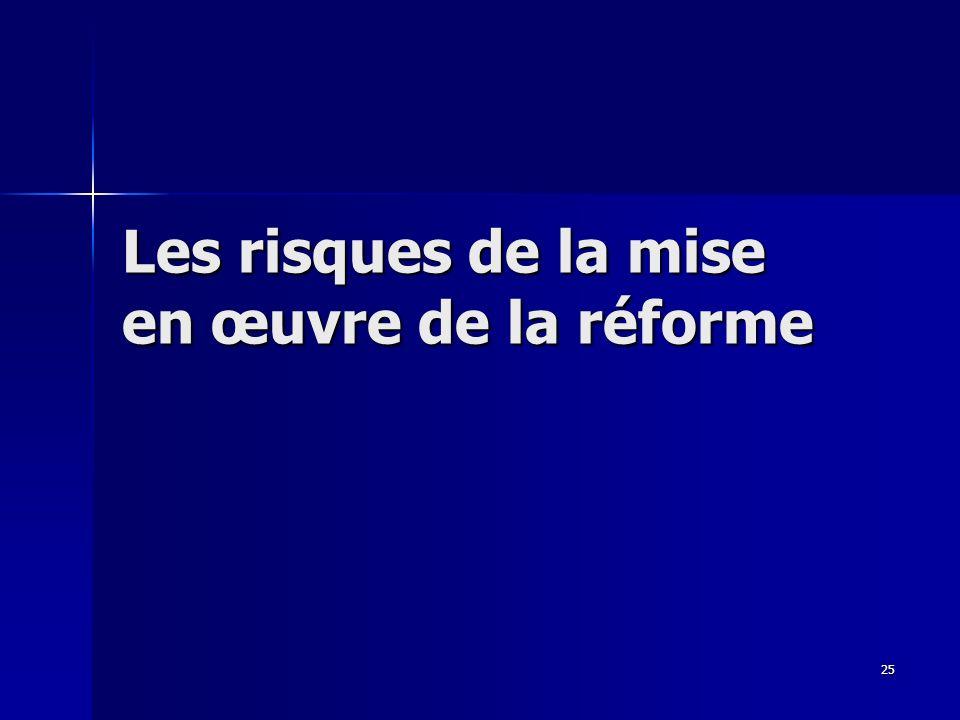 25 Les risques de la mise en œuvre de la réforme