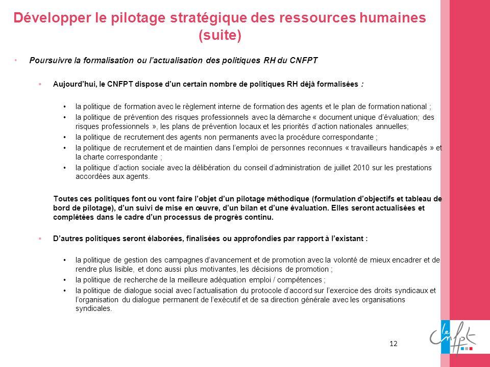 12 Développer le pilotage stratégique des ressources humaines (suite) Poursuivre la formalisation ou lactualisation des politiques RH du CNFPT Aujourd