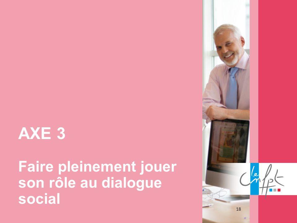 18 AXE 3 Faire pleinement jouer son rôle au dialogue social