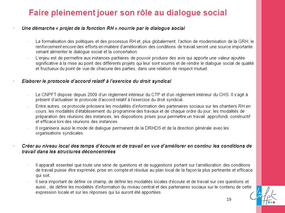 19 Faire pleinement jouer son rôle au dialogue social Une démarche « projet de la fonction RH » nourrie par le dialogue social -La formalisation des p