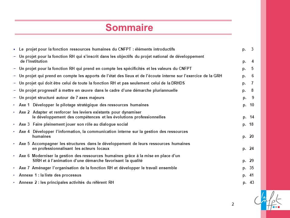 2 Sommaire Le projet pour la fonction ressources humaines du CNFPT : éléments introductifs p. 3 Un projet pour la fonction RH qui sinscrit dans les ob