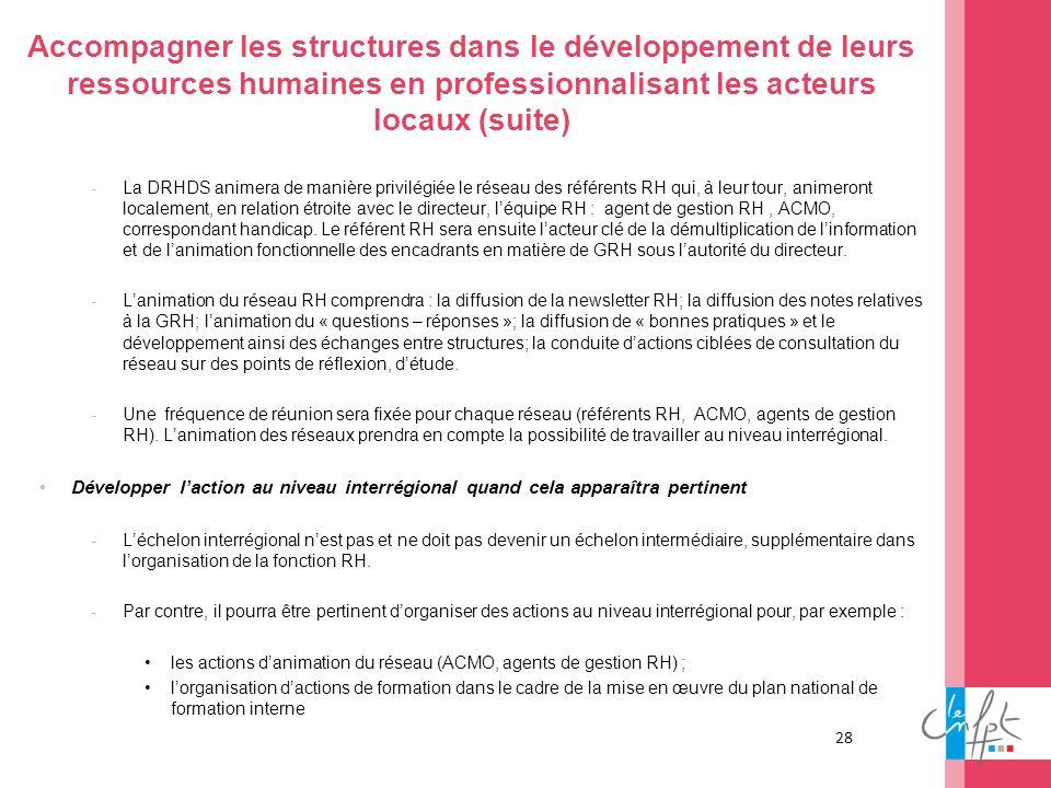 28 Accompagner les structures dans le développement de leurs ressources humaines en professionnalisant les acteurs locaux (suite) -La DRHDS animera de