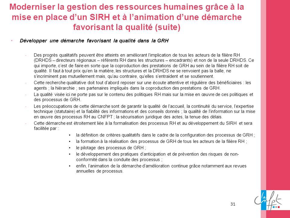31 Moderniser la gestion des ressources humaines grâce à la mise en place dun SIRH et à lanimation dune démarche favorisant la qualité (suite) Dévelop