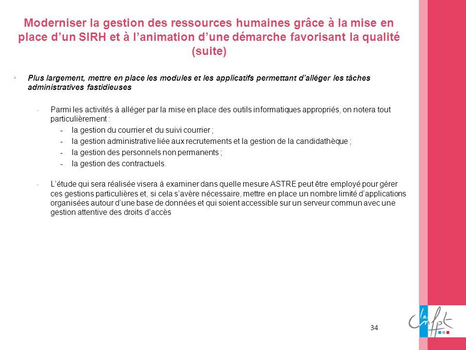 34 Moderniser la gestion des ressources humaines grâce à la mise en place dun SIRH et à lanimation dune démarche favorisant la qualité (suite) Plus la