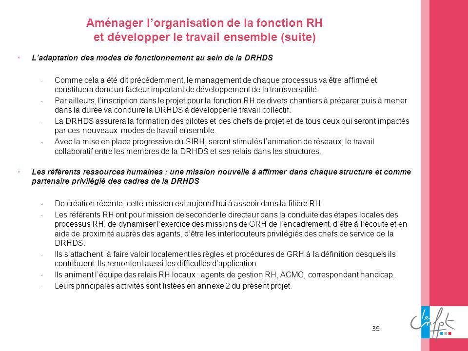 39 Aménager lorganisation de la fonction RH et développer le travail ensemble (suite) Ladaptation des modes de fonctionnement au sein de la DRHDS -Com