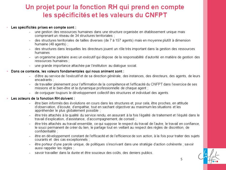 5 Un projet pour la fonction RH qui prend en compte les spécificités et les valeurs du CNFPT Les spécificités prises en compte sont : -une gestion des