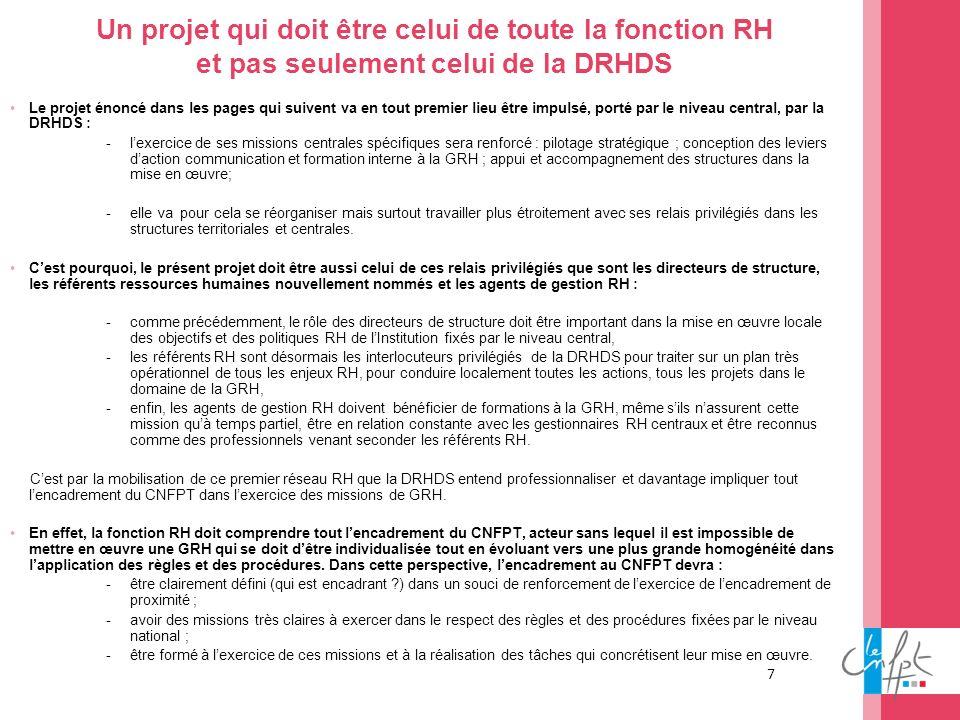 7 Un projet qui doit être celui de toute la fonction RH et pas seulement celui de la DRHDS Le projet énoncé dans les pages qui suivent va en tout prem