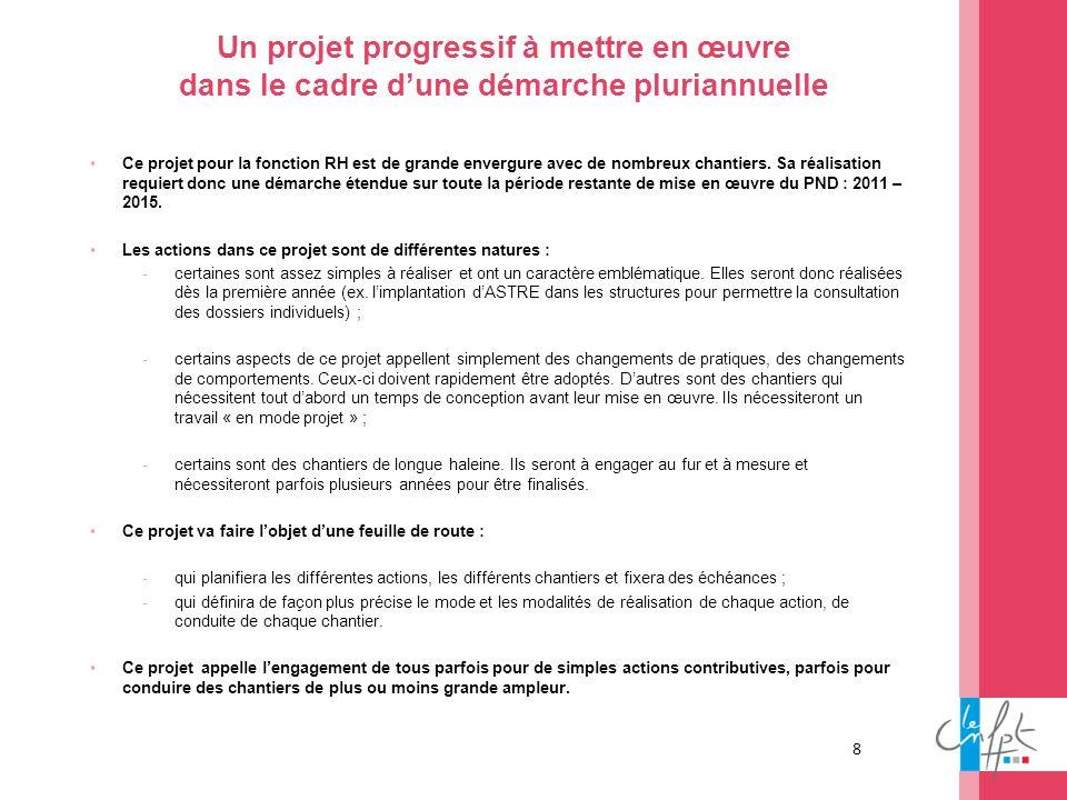 8 Un projet progressif à mettre en œuvre dans le cadre dune démarche pluriannuelle Ce projet pour la fonction RH est de grande envergure avec de nombr