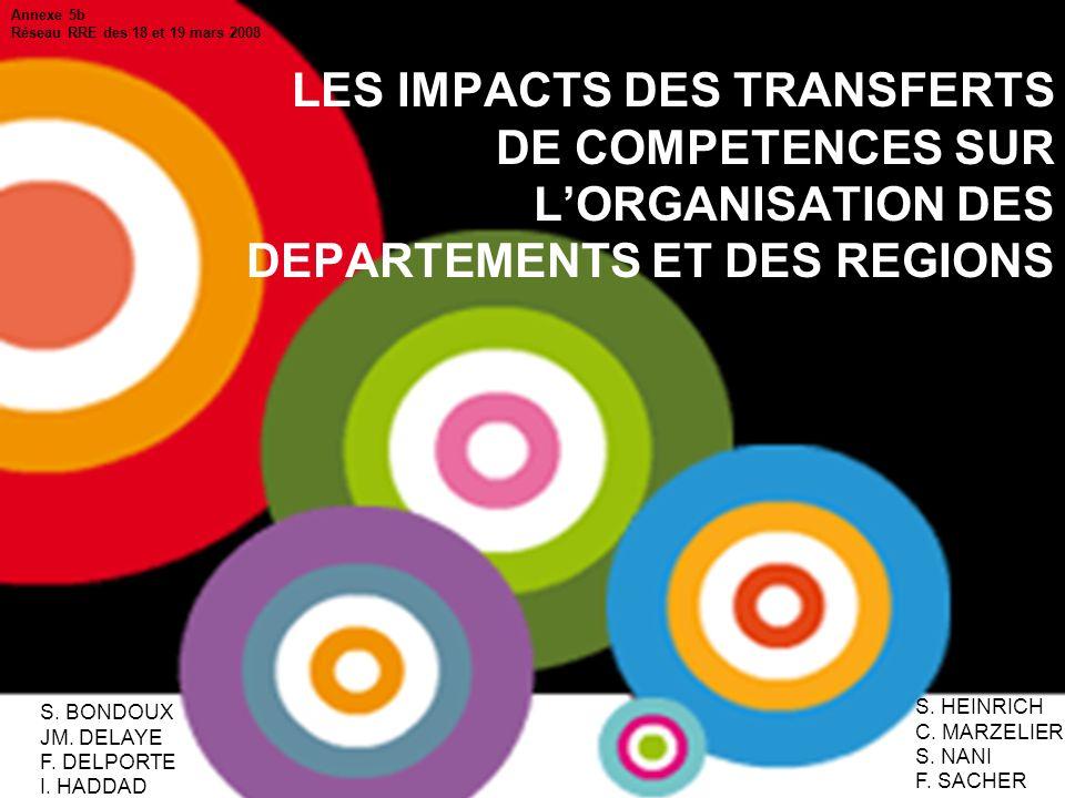 CNFPT - Mission décentralisation Nov.07 1 LES IMPACTS DES TRANSFERTS DE COMPETENCES SUR LORGANISATION DES DEPARTEMENTS ET DES REGIONS S.