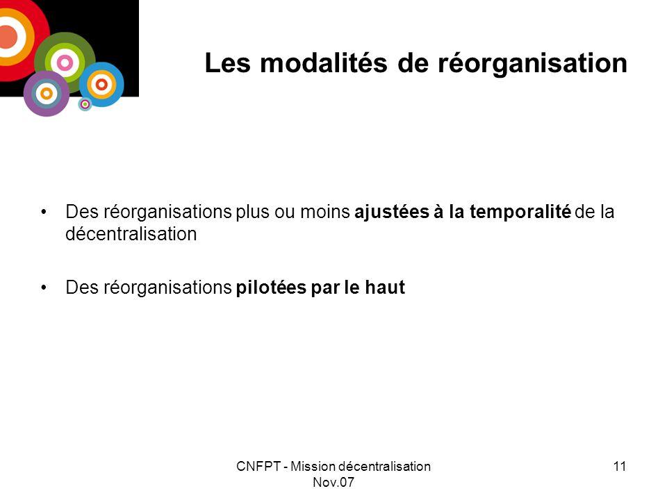 CNFPT - Mission décentralisation Nov.07 11 Les modalités de réorganisation Des réorganisations plus ou moins ajustées à la temporalité de la décentralisation Des réorganisations pilotées par le haut