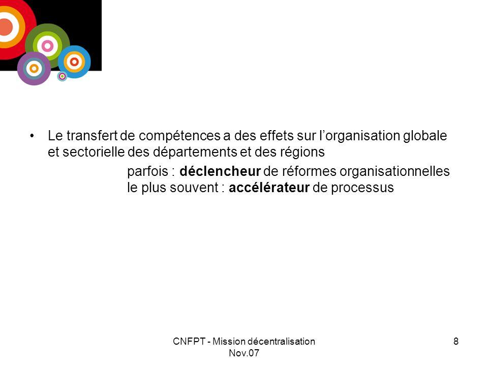 CNFPT - Mission décentralisation Nov.07 8 Le transfert de compétences a des effets sur lorganisation globale et sectorielle des départements et des régions parfois : déclencheur de réformes organisationnelles le plus souvent : accélérateur de processus