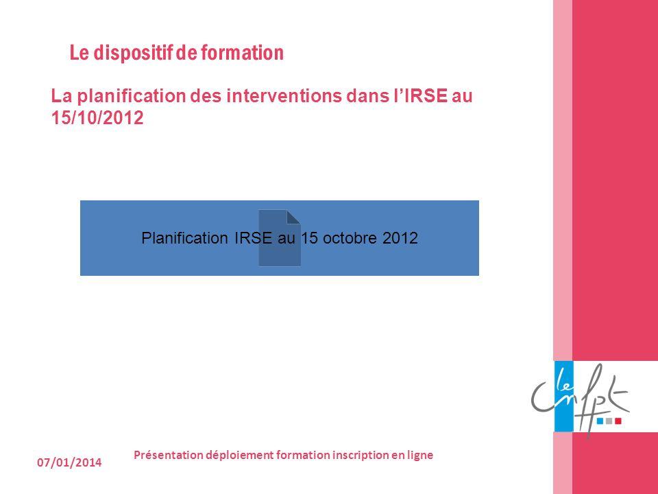 07/01/2014 Présentation déploiement formation inscription en ligne La planification des interventions dans lIRSE au 15/10/2012 Le dispositif de format