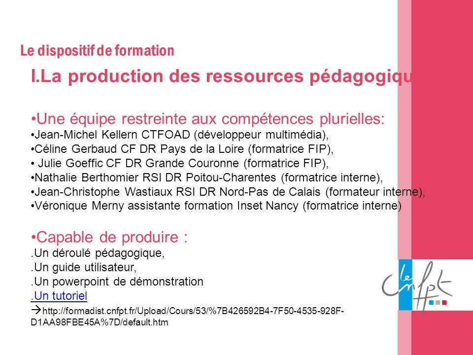 Le dispositif de formation I.La production des ressources pédagogiques Une équipe restreinte aux compétences plurielles: Jean-Michel Kellern CTFOAD (d