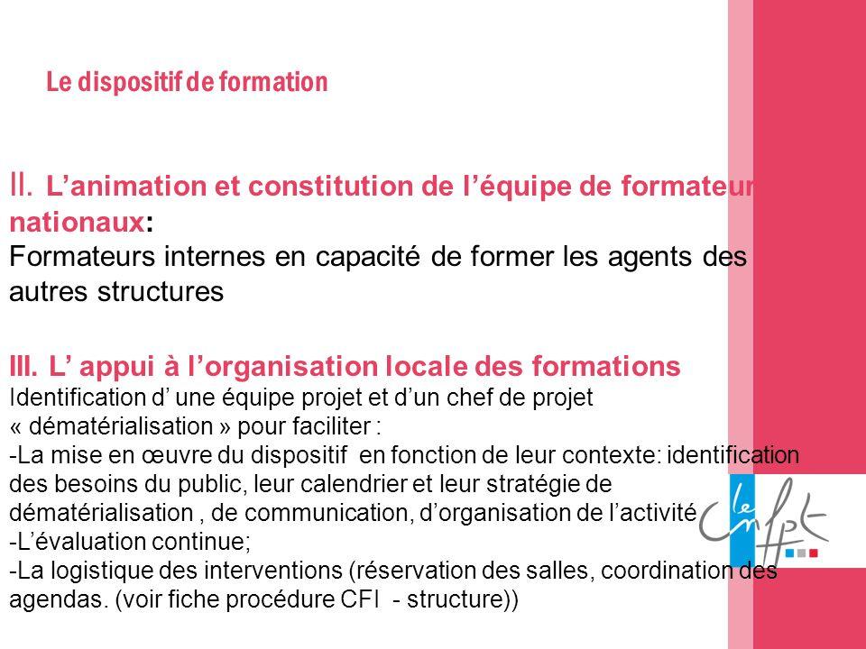 Le dispositif de formation II. Lanimation et constitution de léquipe de formateur nationaux: Formateurs internes en capacité de former les agents des