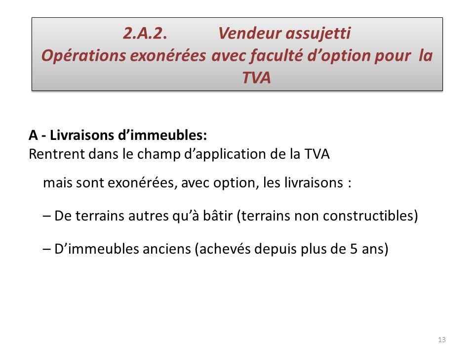13 A - Livraisons dimmeubles: Rentrent dans le champ dapplication de la TVA mais sont exonérées, avec option, les livraisons : – De terrains autres qu