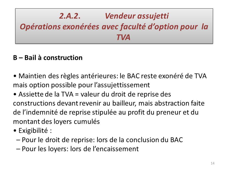 14 B – Bail à construction Maintien des règles antérieures: le BAC reste exonéré de TVA mais option possible pour lassujettissement Assiette de la TVA