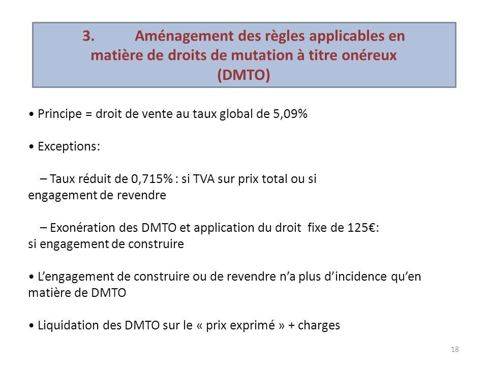 18 Principe = droit de vente au taux global de 5,09% Exceptions: – Taux réduit de 0,715% : si TVA sur prix total ou si engagement de revendre – Exonér