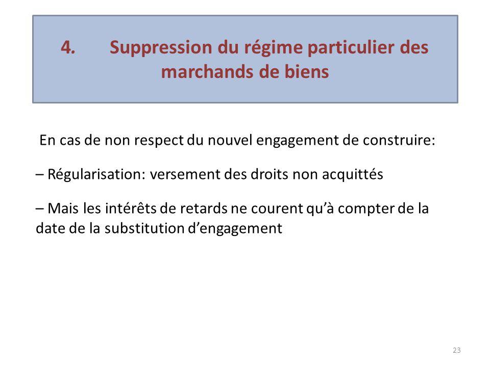 23 En cas de non respect du nouvel engagement de construire: – Régularisation: versement des droits non acquittés – Mais les intérêts de retards ne co