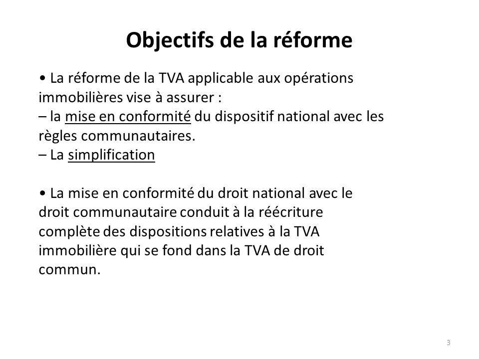 3 Objectifs de la réforme La réforme de la TVA applicable aux opérations immobilières vise à assurer : – la mise en conformité du dispositif national