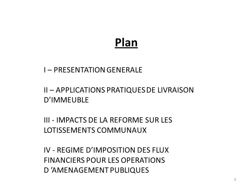 4 Plan I – PRESENTATION GENERALE II – APPLICATIONS PRATIQUES DE LIVRAISON DIMMEUBLE III - IMPACTS DE LA REFORME SUR LES LOTISSEMENTS COMMUNAUX IV - RE