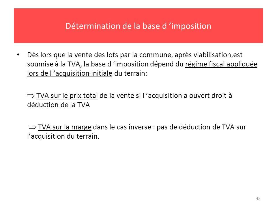 45 Détermination de la base d imposition Dès lors que la vente des lots par la commune, après viabilisation,est soumise à la TVA, la base d imposition