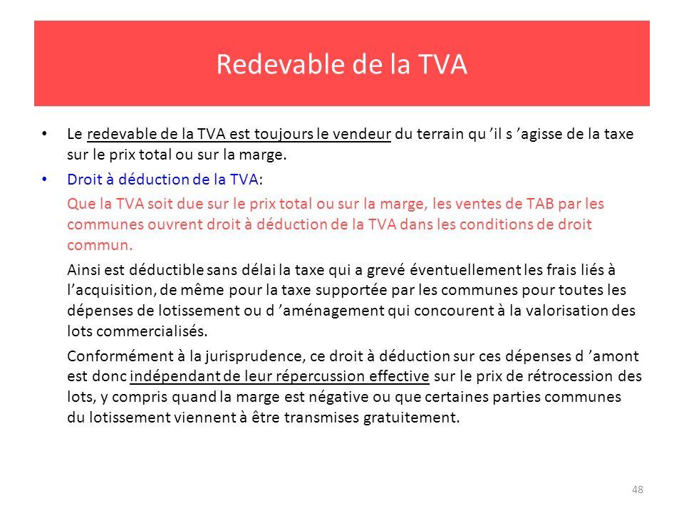48 Redevable de la TVA Le redevable de la TVA est toujours le vendeur du terrain qu il s agisse de la taxe sur le prix total ou sur la marge. Droit à