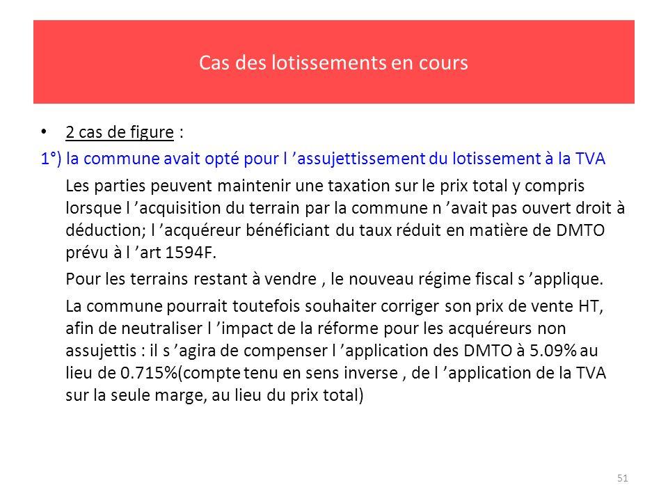 51 Cas des lotissements en cours 2 cas de figure : 1°) la commune avait opté pour l assujettissement du lotissement à la TVA Les parties peuvent maint