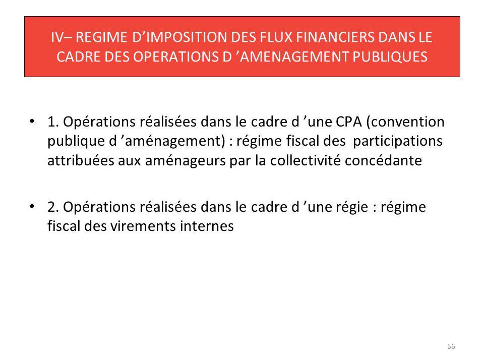 56 IV– REGIME DIMPOSITION DES FLUX FINANCIERS DANS LE CADRE DES OPERATIONS D AMENAGEMENT PUBLIQUES 1. Opérations réalisées dans le cadre d une CPA (co