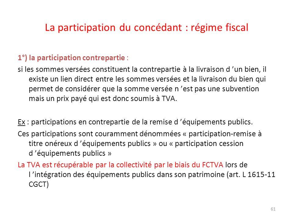 61 La participation du concédant : régime fiscal 1°) la participation contrepartie : si les sommes versées constituent la contrepartie à la livraison