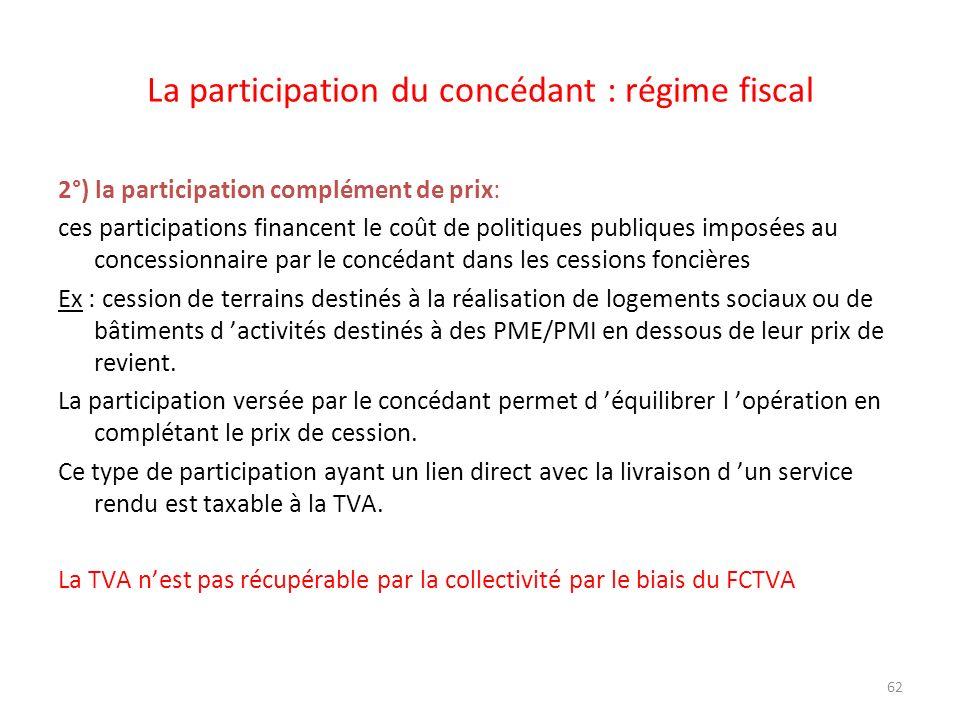 62 La participation du concédant : régime fiscal 2°) la participation complément de prix: ces participations financent le coût de politiques publiques