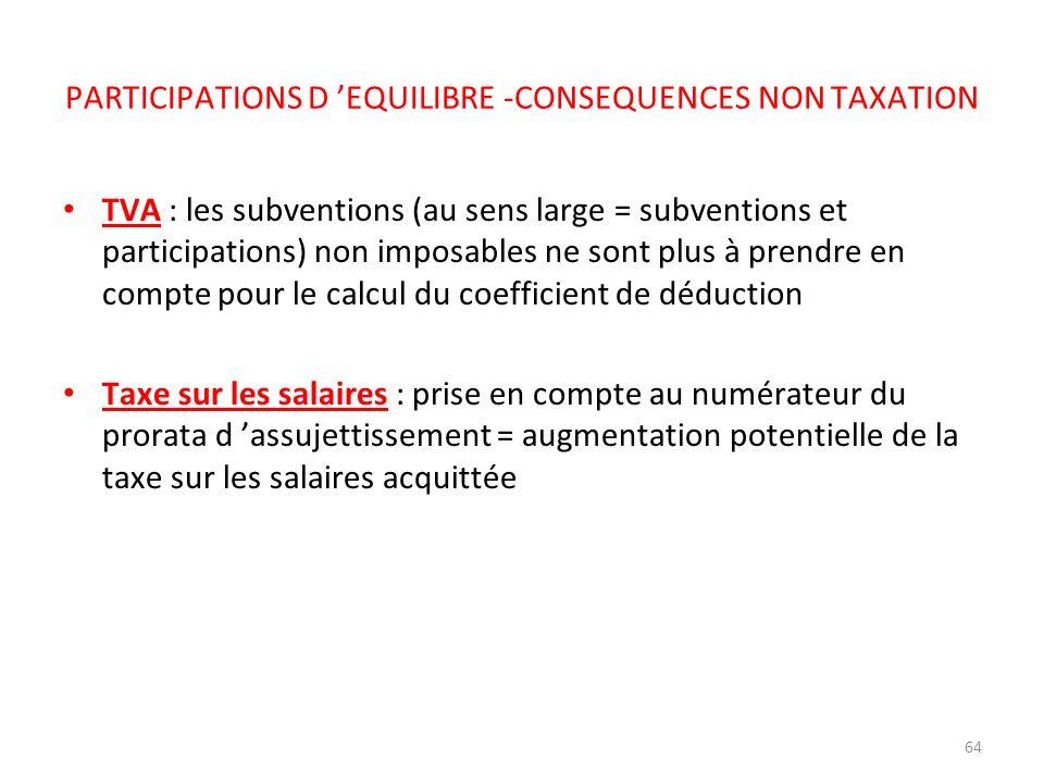 64 PARTICIPATIONS D EQUILIBRE -CONSEQUENCES NON TAXATION TVA : les subventions (au sens large = subventions et participations) non imposables ne sont