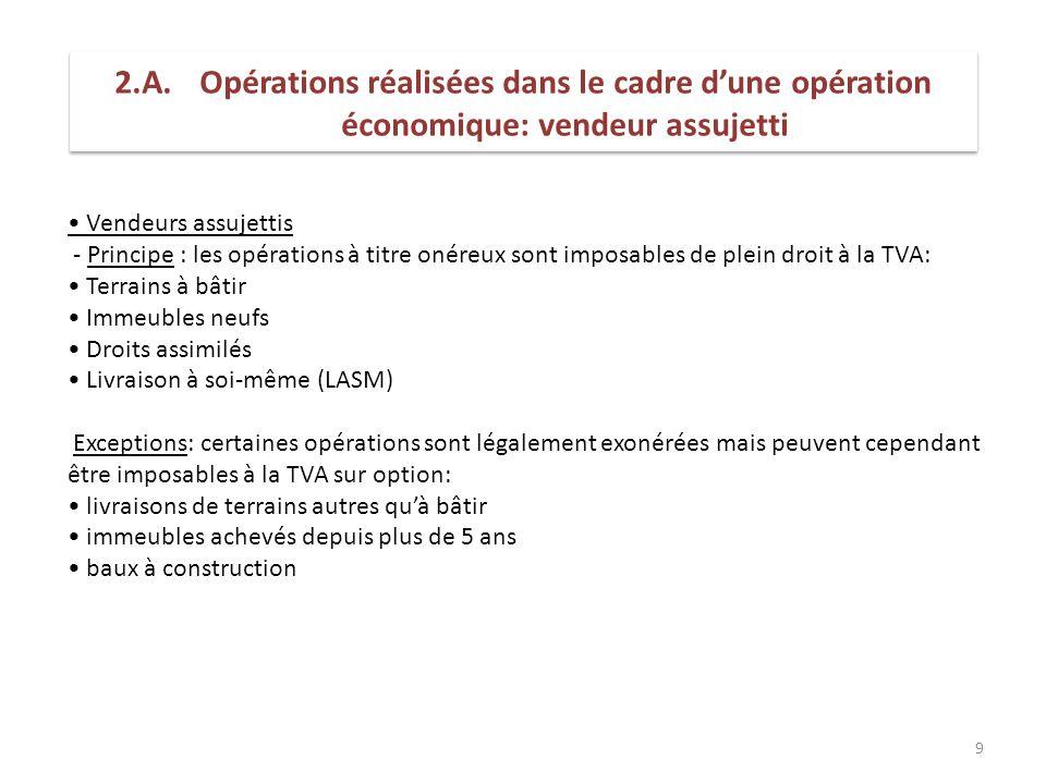 9 Vendeurs assujettis - Principe : les opérations à titre onéreux sont imposables de plein droit à la TVA: Terrains à bâtir Immeubles neufs Droits ass