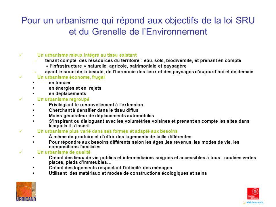 Pour un urbanisme qui répond aux objectifs de la loi SRU et du Grenelle de lEnvironnement Un urbanisme mieux intégré au tissu existant - tenant compte des ressources du territoire : eau, sols, biodiversité, et prenant en compte « linfrastructure » naturelle, agricole, patrimoniale et paysagère - ayant le souci de la beauté, de lharmonie des lieux et des paysages daujourdhui et de demain Un urbanisme économe, frugal en foncier en énergies et en rejets en déplacements Un urbanisme regroupé Privilégiant le renouvellement à lextension Cherchant à densifier dans le tissu diffus Moins générateur de déplacements automobiles Sinspirant ou dialoguant avec les volumétries voisines et prenant en compte les sites dans lesquels il sinscrit Un urbanisme plus varié dans ses formes et adapté aux besoins À même de produire et doffrir des logements de taille différentes Pour répondre aux besoins différents selon les âges,les revenus, les modes de vie, les compositions familiales Un urbanisme de qualité Créant des lieux de vie publics et intermédiaires soignés et accessibles à tous : coulées vertes, places, pieds dimmeubles… Créant des logements respectant lintimité des ménages Utilisant des matériaux et modes de constructions écologiques et sains