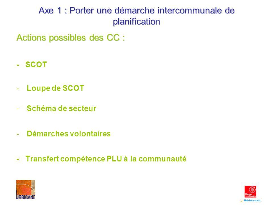 Axe 1 : Porter une démarche intercommunale de planification Actions possibles des CC : - SCOT -Loupe de SCOT -Schéma de secteur -Démarches volontaires - Transfert compétence PLU à la communauté