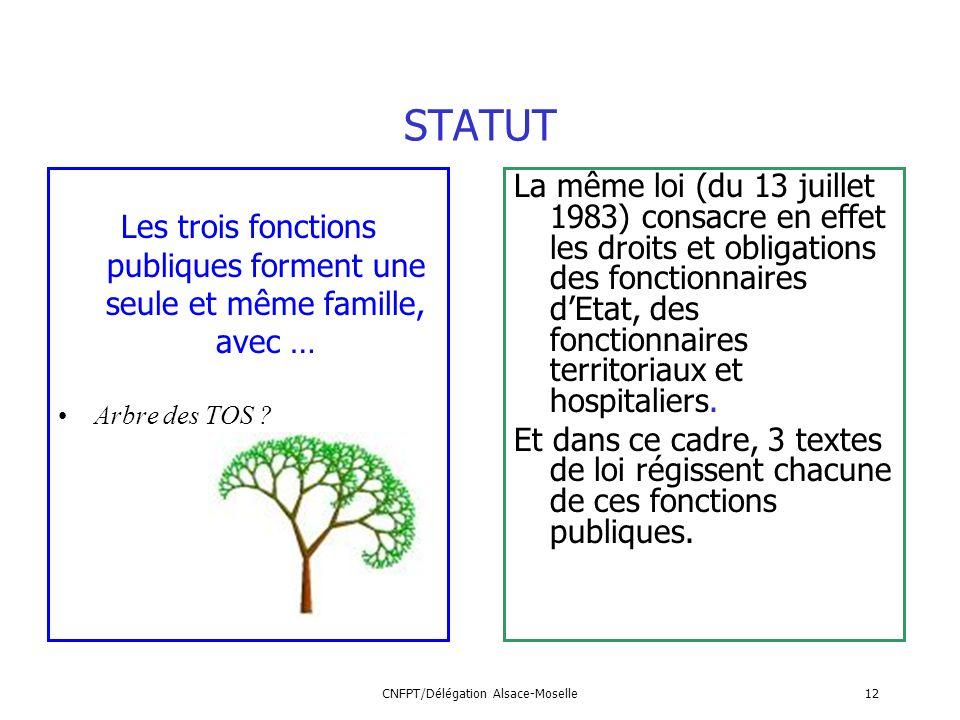 CNFPT/Délégation Alsace-Moselle12 STATUT Les trois fonctions publiques forment une seule et même famille, avec … Arbre des TOS ? La même loi (du 13 ju