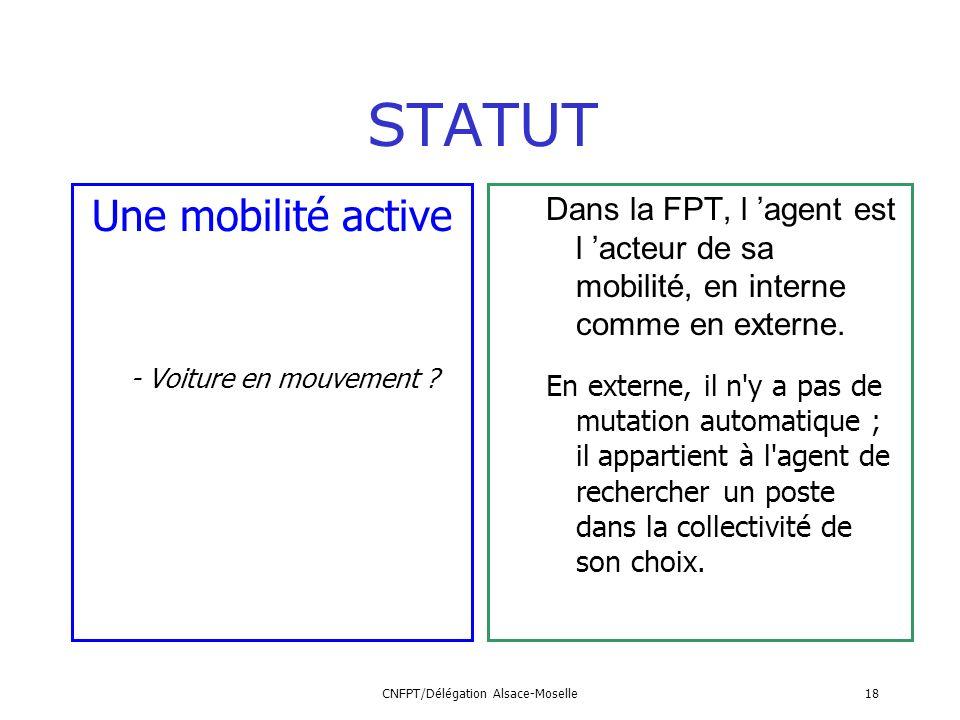 CNFPT/Délégation Alsace-Moselle18 Une mobilité active - Voiture en mouvement ? STATUT Dans la FPT, l agent est l acteur de sa mobilité, en interne com