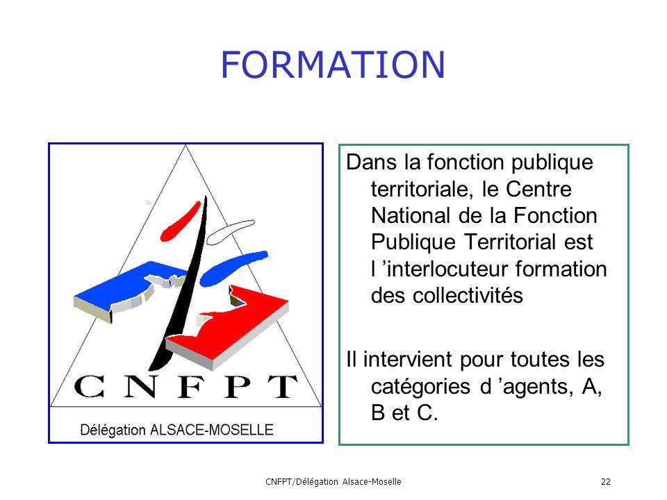 CNFPT/Délégation Alsace-Moselle22 FORMATION Dans la fonction publique territoriale, le Centre National de la Fonction Publique Territorial est l inter