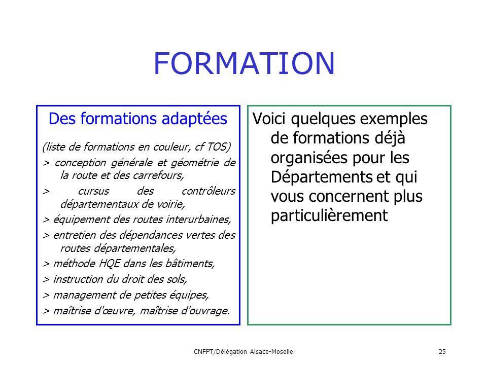 CNFPT/Délégation Alsace-Moselle25 FORMATION Des formations adaptées (liste de formations en couleur, cf TOS) > conception générale et géométrie de la