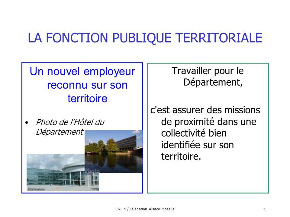 CNFPT/Délégation Alsace-Moselle5 LA FONCTION PUBLIQUE TERRITORIALE Un nouvel employeur reconnu sur son territoire Photo de lHôtel du Département Trava