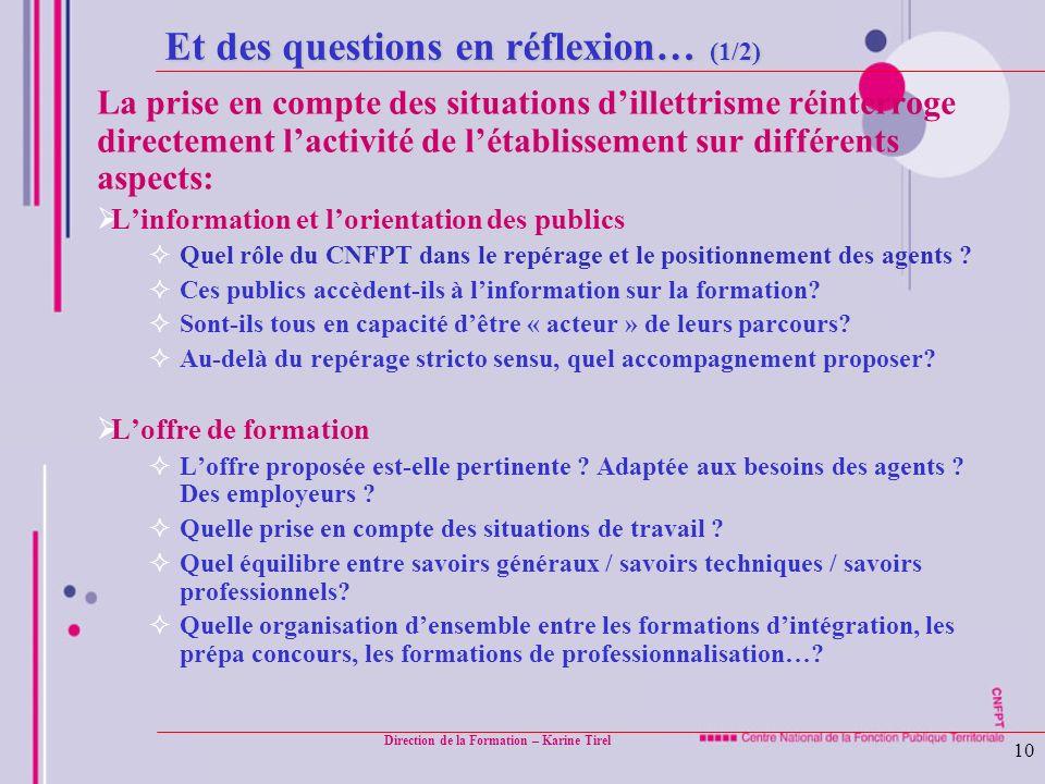 Direction de la Formation – Karine Tirel 10 Et des questions en réflexion… (1/2) La prise en compte des situations dillettrisme réinterroge directemen