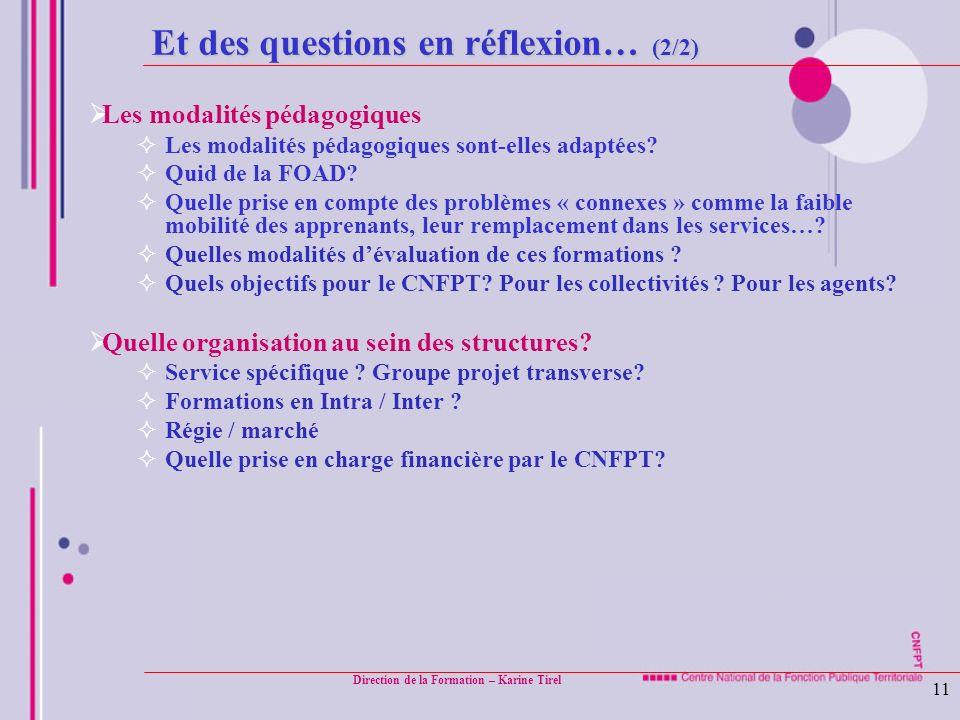 Direction de la Formation – Karine Tirel 11 Et des questions en réflexion… (2/2) Les modalités pédagogiques Les modalités pédagogiques sont-elles adap