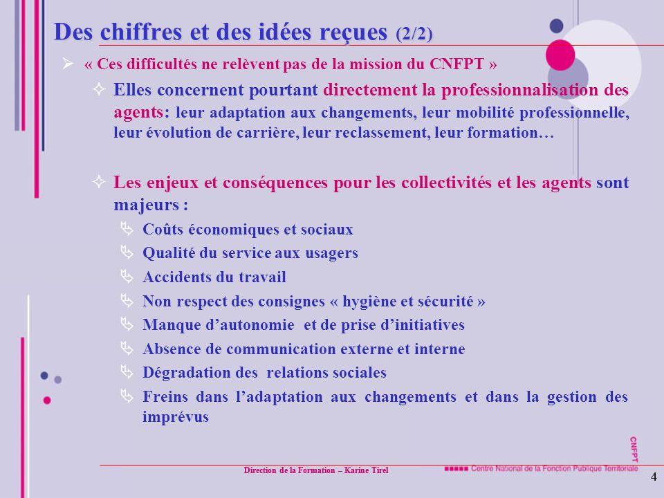 Direction de la Formation – Karine Tirel 4 4 Des chiffres et des idées reçues (2/2) « Ces difficultés ne relèvent pas de la mission du CNFPT » Elles c