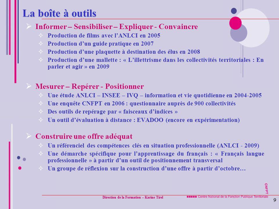 Direction de la Formation – Karine Tirel 9 9 La boîte à outils Informer – Sensibiliser – Expliquer - Convaincre Production de films avec lANLCI en 200