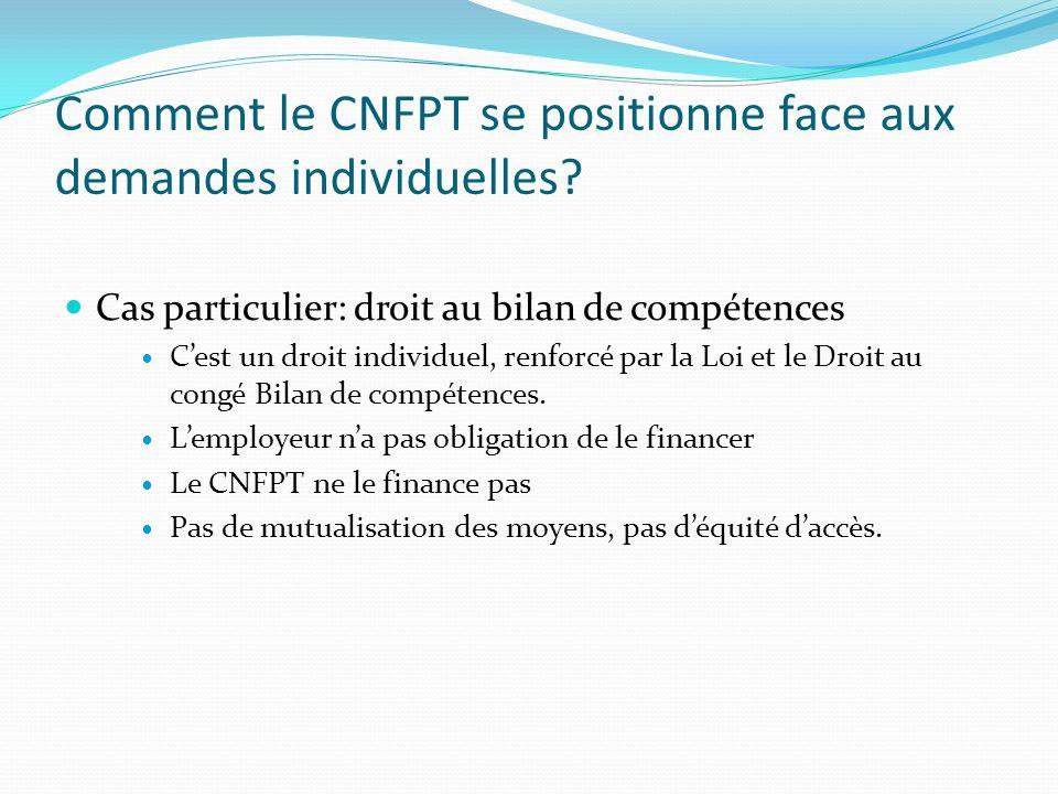 Comment le CNFPT se positionne face aux demandes individuelles? Cas particulier: droit au bilan de compétences Cest un droit individuel, renforcé par