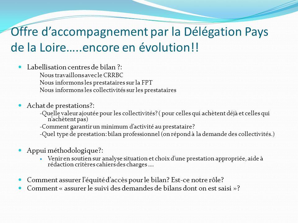 Offre daccompagnement par la Délégation Pays de la Loire…..encore en évolution!! Labellisation centres de bilan ?: Nous travaillons avec le CRRBC Nous