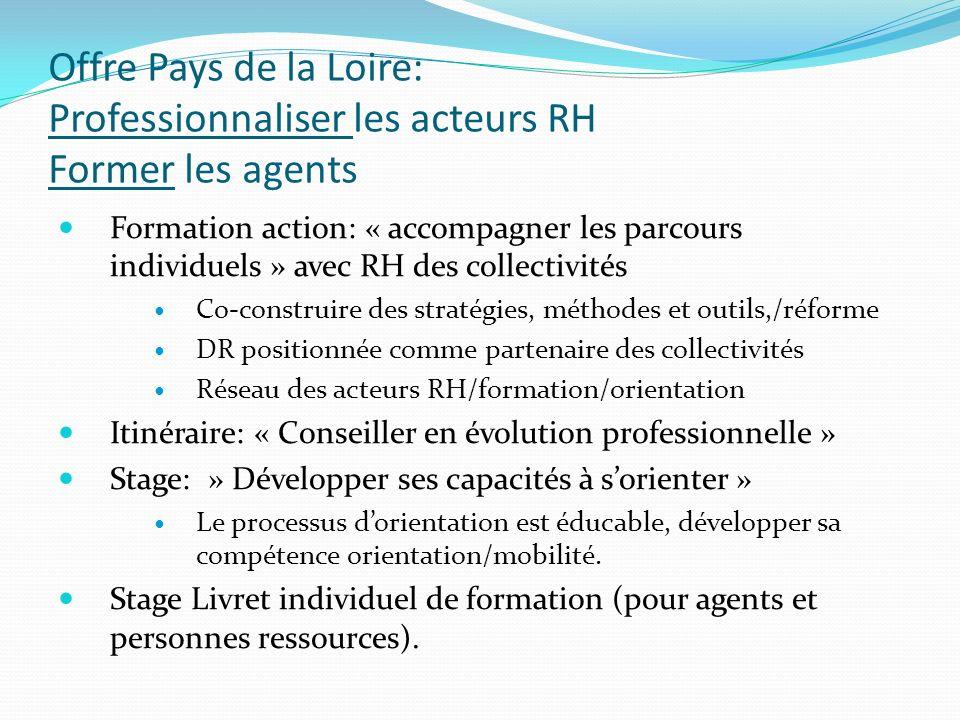 Offre Pays de la Loire: Professionnaliser les acteurs RH Former les agents Formation action: « accompagner les parcours individuels » avec RH des coll